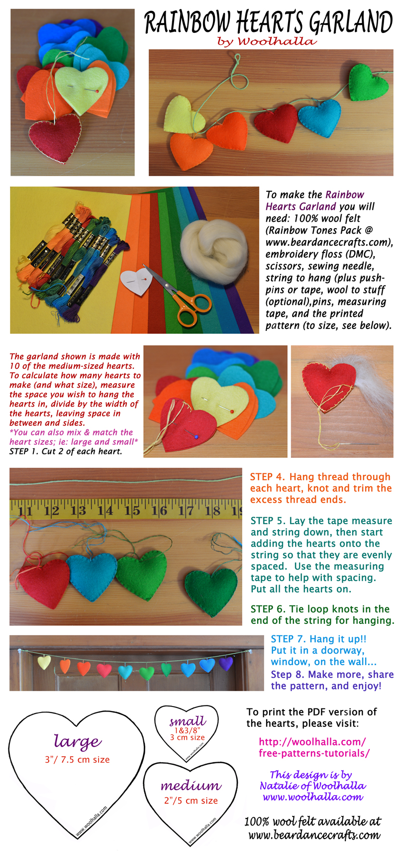Rainbow Hearts Garland Tutorial